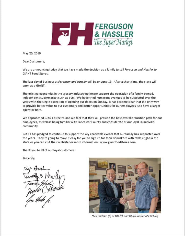 Giant Food Stores acquires Ferguson & Hassler store in Pennsylvania